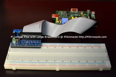 Pi Jumper Plus plugged into large breadboard