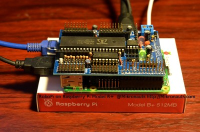 RoboPi running on Raspberry Pi Model B +