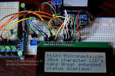 1602 LCD on Raspberry Pi @ http://Mikronauts.com