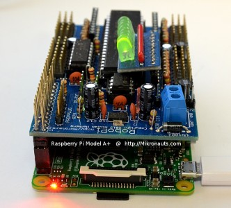 Raspberry Pi Model A+ with RoboPi @ http://Mikronauts.com