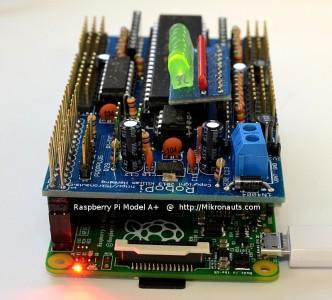 Raspberry Pi Model A+ with RoboPi @ http://Mikronauts.com