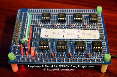 Raspberry Pi Model A+ EEPROM Gang Programmer @ http://Mikronauts.com