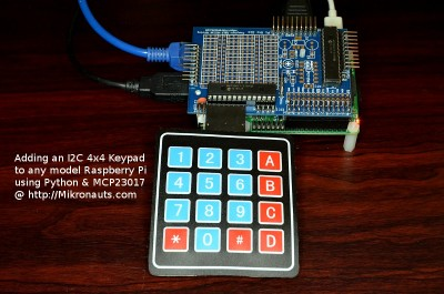 Adding an I2C 4x4 Keypad to any model Raspberry Pi  using Python & MCP23017 @ http://Mikronauts.com