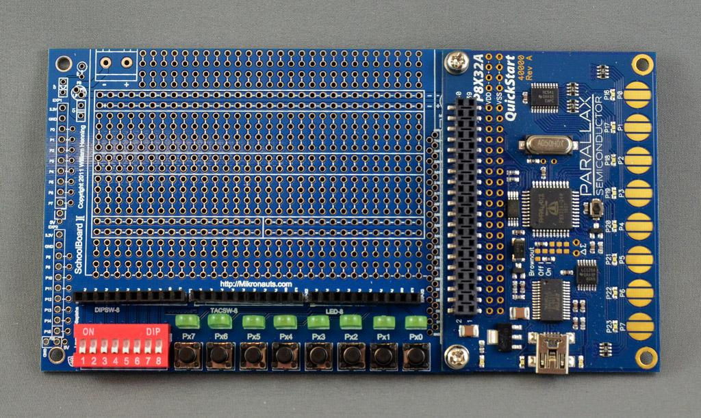 SchoolBoard ][ Lite assembled with a Parallax QuickStart board